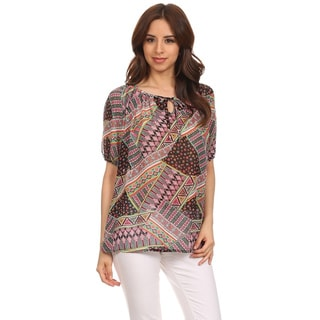 Moa Collection Women's Patch Print Bubble Sleeve Top