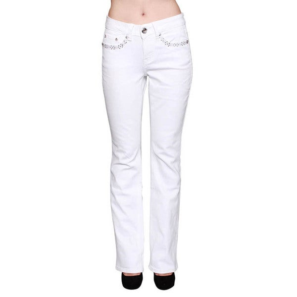 Sexy Couture White Rhinestone Stitched Boot Cut Jeans
