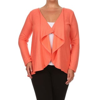 Moa Collection Plus Size Women's Loose Fit Open Front Cardigan