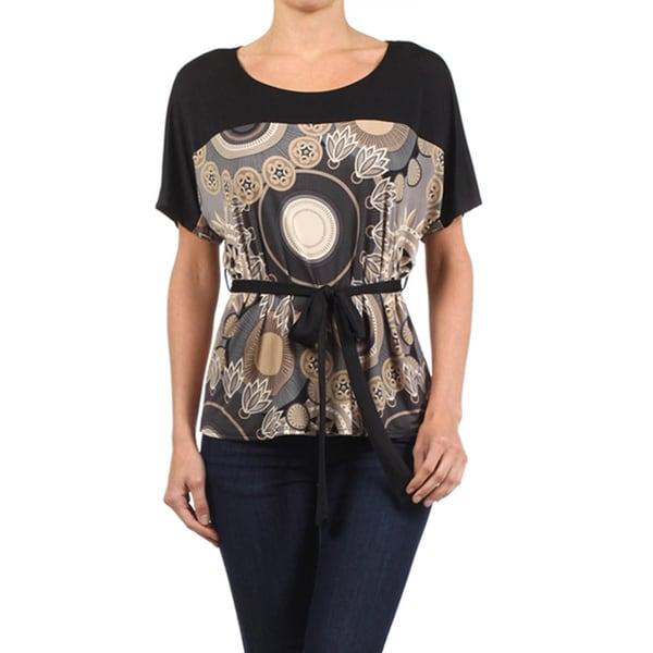 Moa Women's Mandala Print Top with Belt