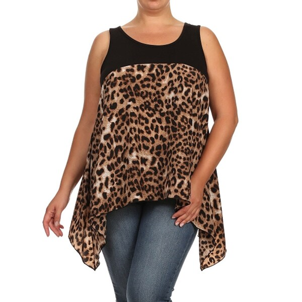 Moa Women's Plus Size Duo Fabric Sleeveless Top
