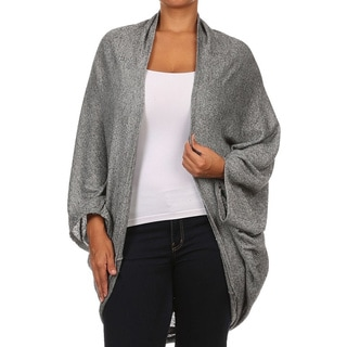 Moa Women's Plus Size Peppered Loose Fit Cardigan