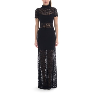 Sentimental NY Women's Sexy High Neck Lace Dress with Embellished sleeves