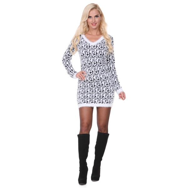 White Mark Women's Angora Sweater Dress Medium Size in Black (As Is Item)