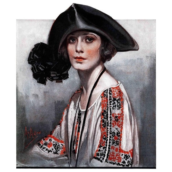 "Marmont Hill - ""Woman in Embroidered Blouse"" by Neysa McMein Painting Print on Canvas"