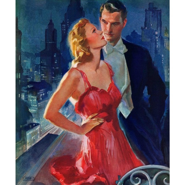 "Marmont Hill - ""Formal Couple on Balcony"" by John LaGatta Painting Print on Canvas"