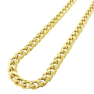 .925 Sterling Silver Hollow Miami Cuban Curb Link Gold Plated Necklace Chain 10mm