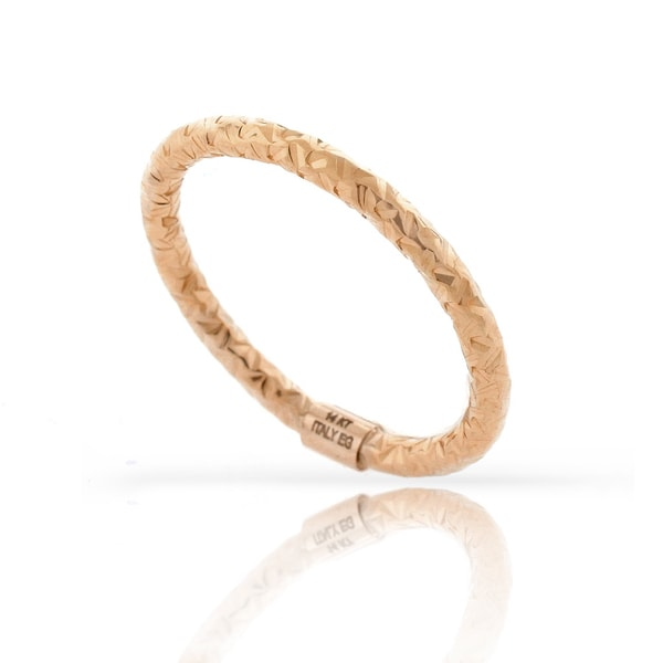 14k Rose Gold Womens Fancy Diamond Cut Hammered Ring Size 6