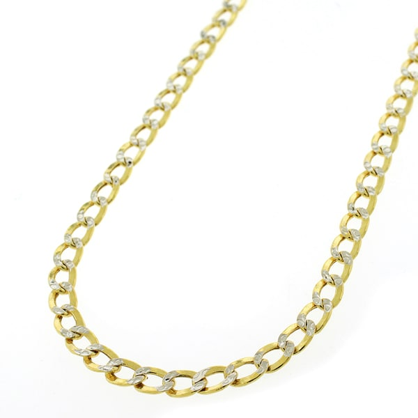 10K Gold Hollow Two-tone Cuban Curb Diamond Cut Pave 4.5mm Chain Necklace