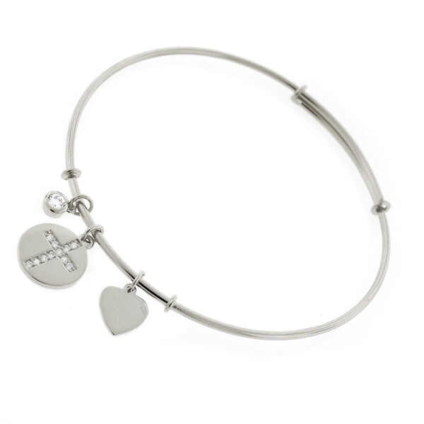 ".925 Sterling Silver Womens CZ Cross Heart Charm Bangle Bracelet 7.5"" Expandable"
