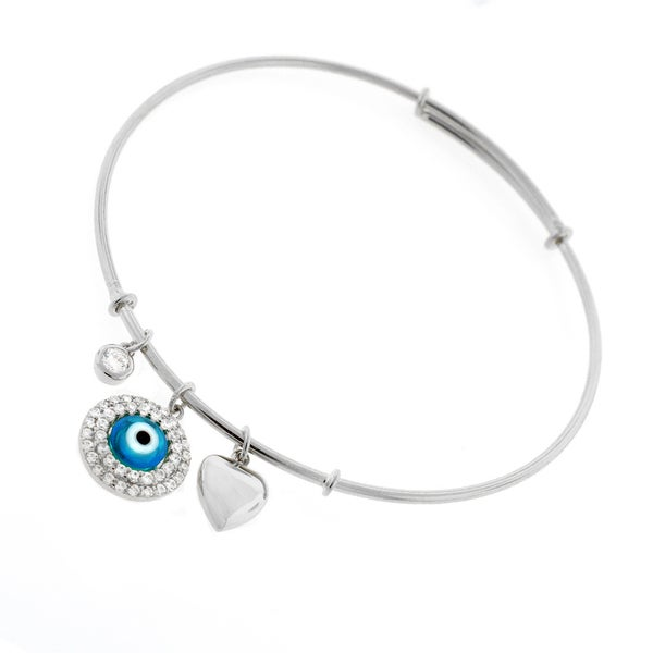".925 Sterling Silver Womens CZ Evil Eye Charm Bangle Bracelet 7.5"" Expandable"