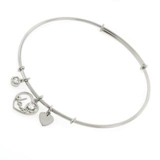 ".925 Sterling Silver Womens CZ Love Heart Charm Bangle Bracelet 7.5"" Expandable"