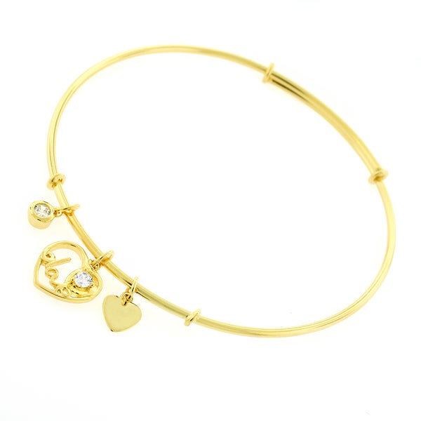 ".925 Sterling Silver Womens CZ Love Heart Yellow Gold Charm Bangle Bracelet 7.5"" Expandable"