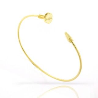 ".925 Sterling Silver Womens Fancy CZ Screw Nail Gold Plated Bangle Bracelet 7"""
