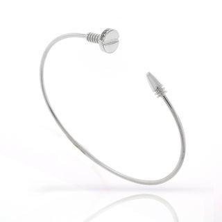 ".925 Sterling Silver Womens Fancy CZ Screw Nail Bangle Bracelet 7"""