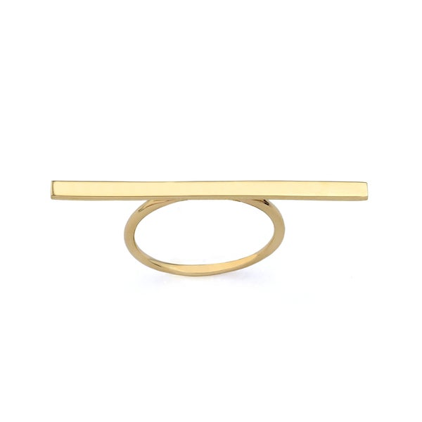 10k Yellow Gold Fashion Bar Ring Size 7