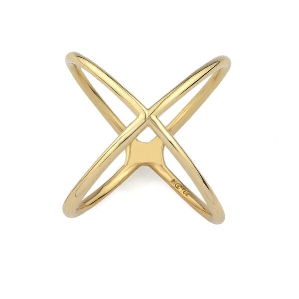 10k Yellow Gold Criss-cross Fashion Size 7 Ring