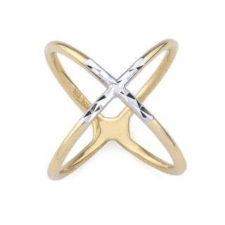 10k Two-Tone Gold Criss-cross Fashion Ring Size 7