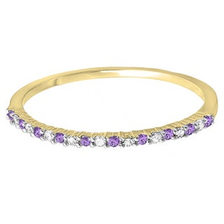 14K Yellow Gold 1/6 ct. Round Amethyst & White Diamond Wedding Band Stackable Ring (I-J & Purple, I2-I3 & Moderately Included)
