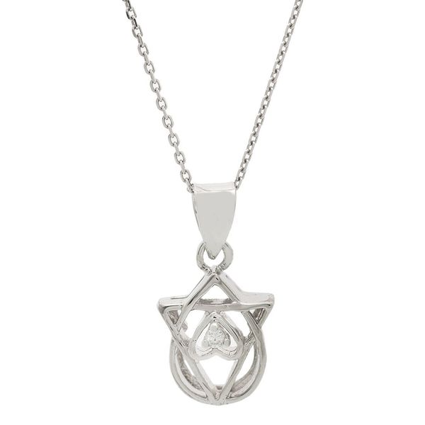 Pori Sterling Silver Pear Triangle Heart Pendant Necklace