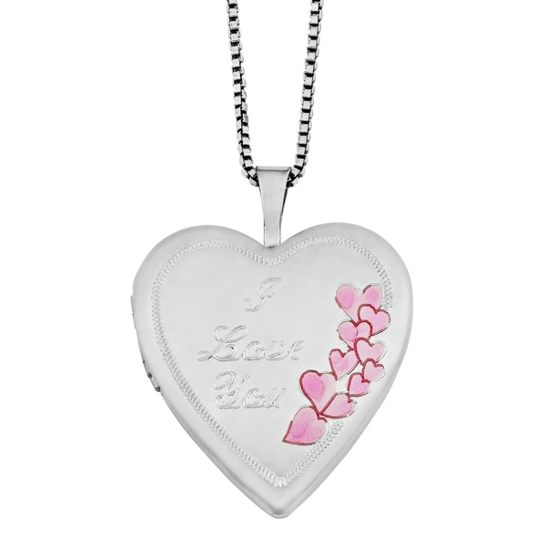 "Fremada Rhodium Plated Sterling SIlver ""I Love You"" with Pink Hearts Side Border Heart Locket Necklace (18 inches)"