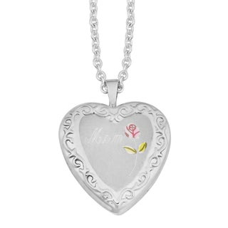 """Fremada Rhodium Plated Sterling SIlver """"Mom"""" with Colored Rose Heart Locket Necklace (18 inches)"""