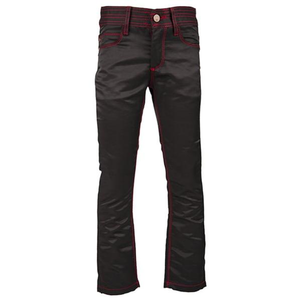 Kids' Black/ Red Trim Twill Pants