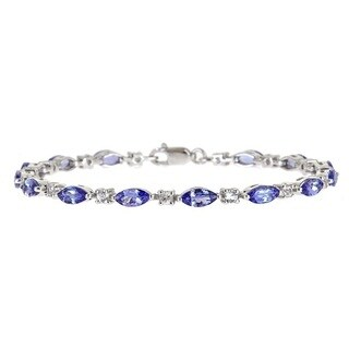 Anika and August Sterling Silver Marquise Tanzanite and White Sapphire Bracelet