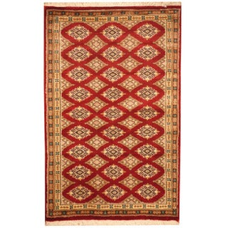 Herat Oriental Pakistani Hand-knotted Prince Bokhara Red/ Gold Wool Rug (2'8 x 4'2)