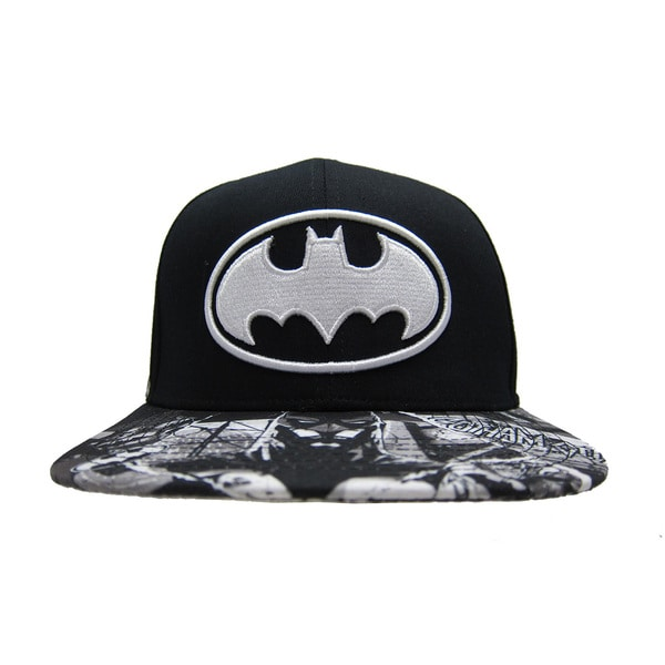 Batman Black Baseball Cap with Printed Bill