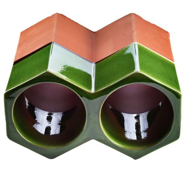 SomerTile 9.25x5-inch Botellera Green Glazed Terra Cotta Wine Rack