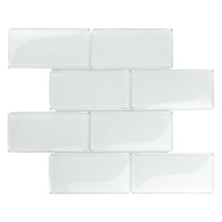SomerTile 11.75x11.75-inch Iglu Convex Subway Ice White Glass Wall Tile (Case of 5)