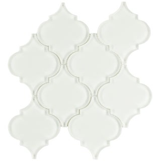 SomerTile 8x8.625-inch Morocco Ice White Glass Wall Tile (Case of 10)
