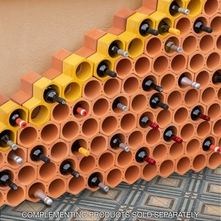 SomerTile 9.25x5-inch Botellera Yellow Glazed Terra Cotta Wine Rack