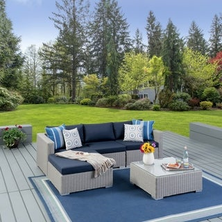 Christopher Knight Home Santa Rosa Outdoor 5-piece Wicker Seating Sectional Set with Cushions