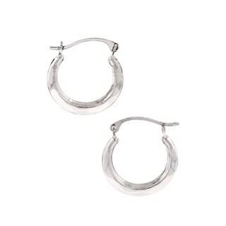 Pori 10k White Gold Hoop Earrings