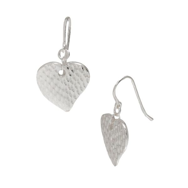 Pori Sterling Silver Hammered Heart Hook Earrings