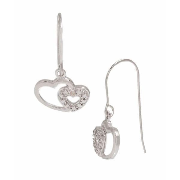 Pori Sterling Silver Twin Heart Pave Earrings