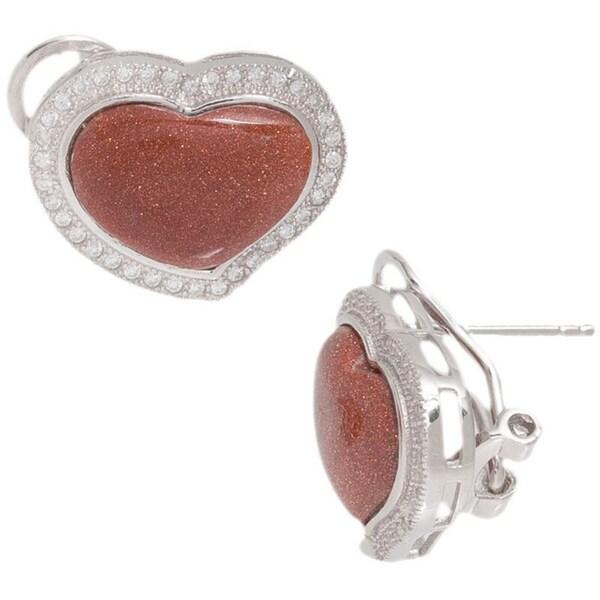 Pori Sterling Silver Goldstone Swish Heart Cubic Zirconia Earrings