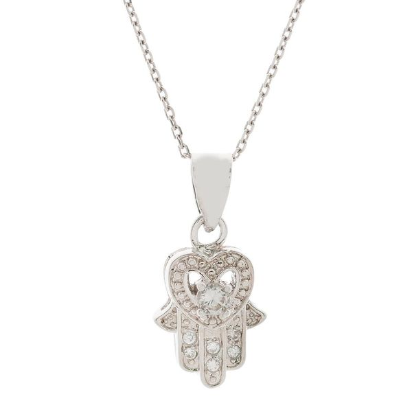 Pori Sterling Silver Heart and Hamsa Cubic Zirconia Pendant Necklace