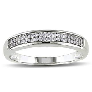 Miadora 10k White Gold Men's 1/8ct TDW Diamond Wedding Band (G-H, I2-I3)