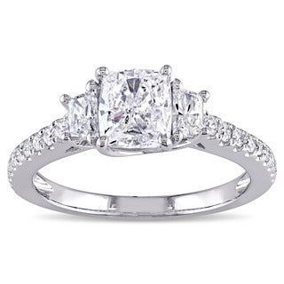 Miadora Signature Collection 14k White Gold 1 2/5ct TDW Cushion-cut Diamond 3-stone Engagement Ring (G-H, SI1-SI2)