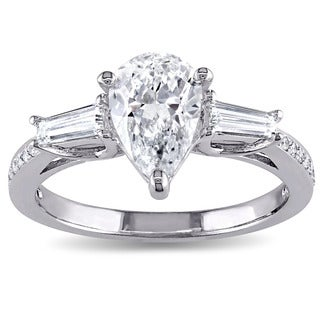 Miadora Signature Collection 14k White Gold 1 3/5ct TDW Pear-cut Diamond 3-stone Engagement Ring (G, SI2)