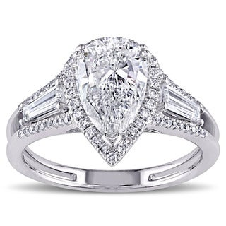 Miadora Signature Collection 14k White Gold 2 3/4ct TDW Pear-cut Diamond 3-stone Engagement Ring (G-H, SI1-SI2)