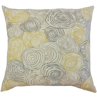 Blakesley Yellow Graphic Linen Down and Feather 18-inch Throw Pillow