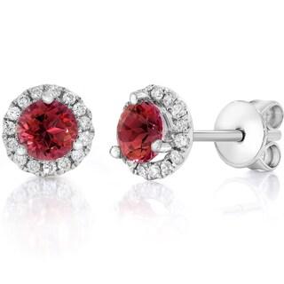 14k White Gold 3/4 CTW Diamond & Ruby Halo Studs Earrings (F-G,VS1-VS2)
