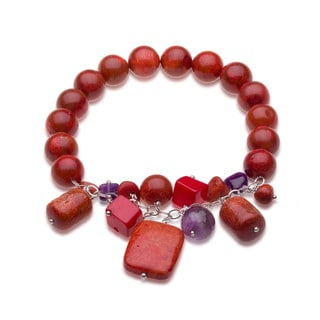 Sterling Silver Red coral and Gemstone Beaded Stretch Bracelet