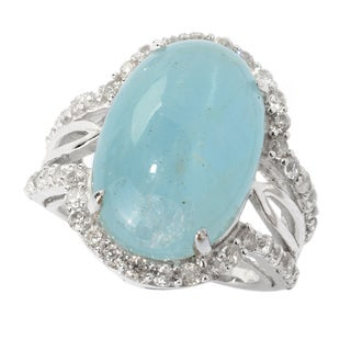 Sterling Silver Aquamarine and White Zircon North South Split Shank Ring