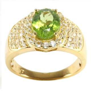 18KT Yellow Gold Over Sterling Silver 3.49cttw Peridot and White Topaz Anniversary Ring