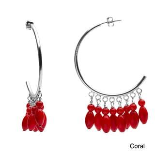 Sterling silver Beaded Gemstone C-Hoop Earrings